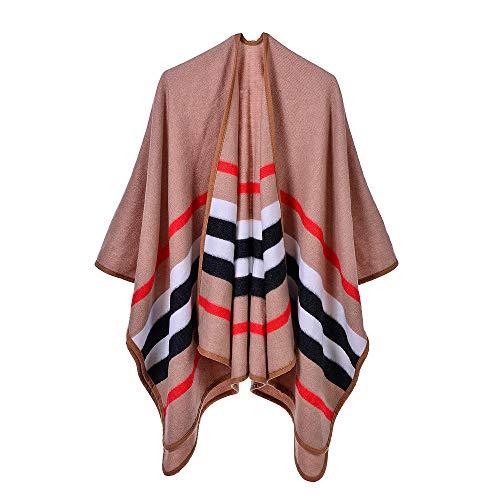 Dames sjaals herfst en winter kamer met airconditioning warm dual-use klassieke gestreepte rand grote sjaal mantel,bruin 130×150cm