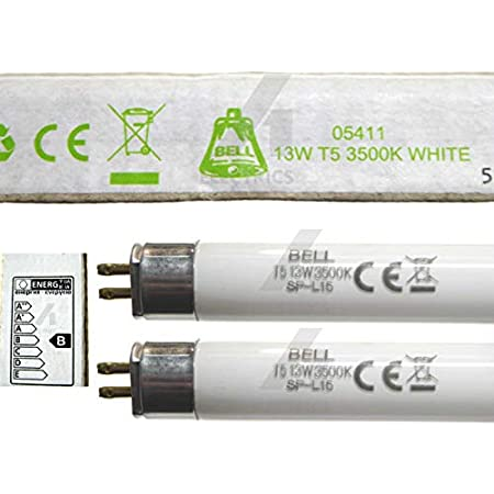 Bell Lighting 05411 Lot de 2tubes fluorescentsT5 Blancindice 3500K CulotG5 525mm 13W