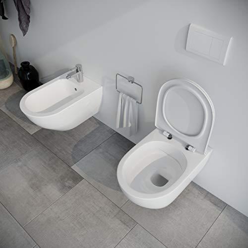 Sanitari bagno filomuro SOSPESI RIMLESS Bidet e Vaso WC in ceramica con sedile coprivaso softclose Fast