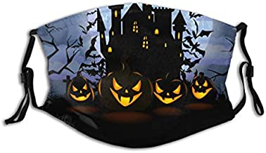 Halloween Background with Scary Pumpkins Face Mask Reusable Washable Cloth Fashion Scarves Comfortable with 2 Filter
