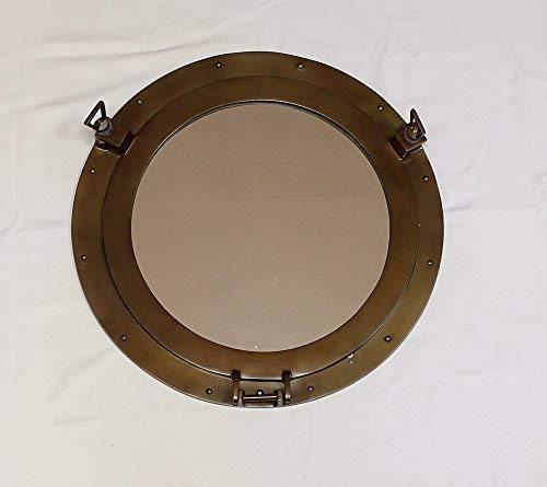 linoows patrijspoor, cabine patrijspoort met spiegel, maritiem wandspiegel 38 cm