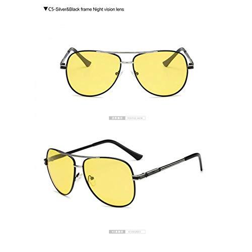 Taiyangcheng Rebajas Hombre Espejo Gafas de Sol polarizadas Mujer Oval Marco metálico Gafas de Sol