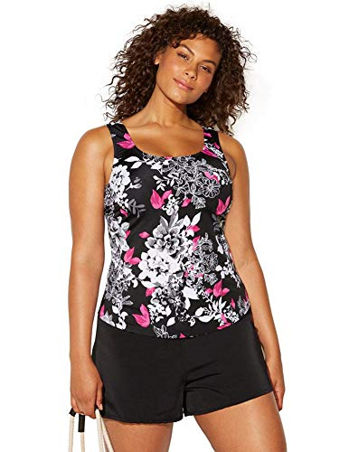 Swimsuits For All Women's Plus Size Classic Tankini Set with Short 14 Garden Rose, Black