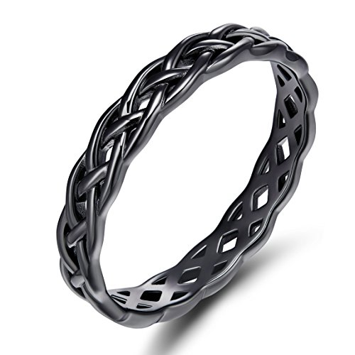 SOMEN TUNGSTEN 925 Sterling Silver Celtic Knot Eternity Band Ring Black Engagement Wedding Band 4mm Size 7.5