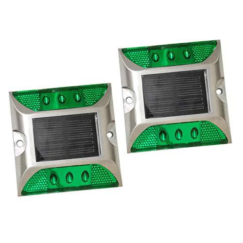 non-brand Sharplace Set Spots LED Luminaires Lumière étape Feu de Route Énergie Solaire - Vert 2pcs
