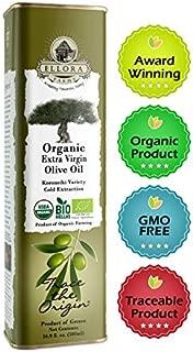 Ellora Farms   USDA Organic 100% Greek Extra Virgin Olive Oil   Koroneiki Variety Olives   Single Origin & Traceable   17 oz BPA Free Tin