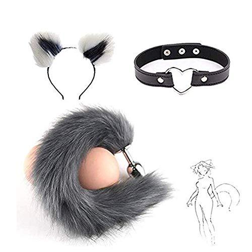 Disfraz de felpa para gato con diadema de oreja y cola de