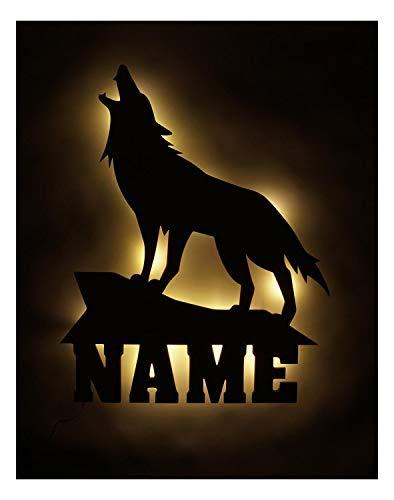 Wolf Holz Wand Deko Lampe Geschenk mit Name für Wolfs Fans personalisiert und optional mit Farbe