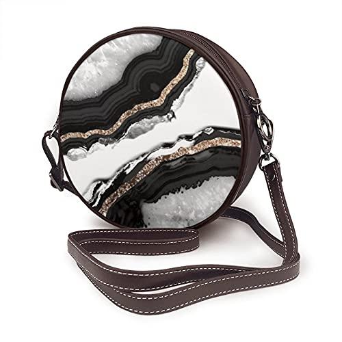 Bolso bandolera para mujer, bolso lateral para viajes, verano, estilo círculo, ágata, purpurina, glam, decoración artística