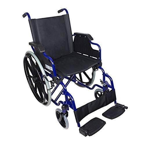 Mobiclinic Standard-Rollstuhl, Faltrollstuhl, Klapparmlehnen, Blauer Rahmen mit schwarzem Sitz, Sitzbreite 46 cm, Modell Giralda