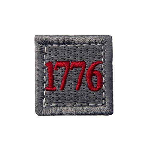 1776 American Independence Emblem Tactical USA Morale Embroidered Applique Fastener Hook&Loop Patch - Sliver Gray