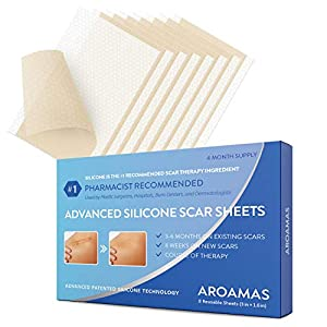 Aroamas Professional Silicone Scar Sheets, Soften and Flattens Scars Resulting from Surgery, Injury, Burns, Acne, C-section and more, Soft Silicone Scar Strips, 3″×1.57″, 8 Sheets (4 Month Supply)