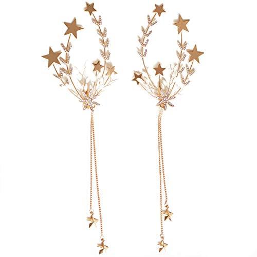 Beaupretty Paire de pinces à cheveux avec glands incrustés de strass Barrette décorative avec des étoiles brillantes Charms Accessoires pour cheveux magnifiques pour filles (doré)