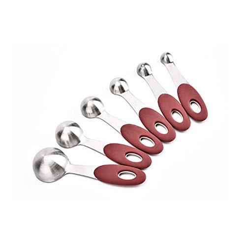 QingH yy Measuring Cup Series de 5 cucharas de medición for la Cocina, de Acero Inoxidable cucharas de medir con la Escala de líquidos o Secos Ingredientes 0417