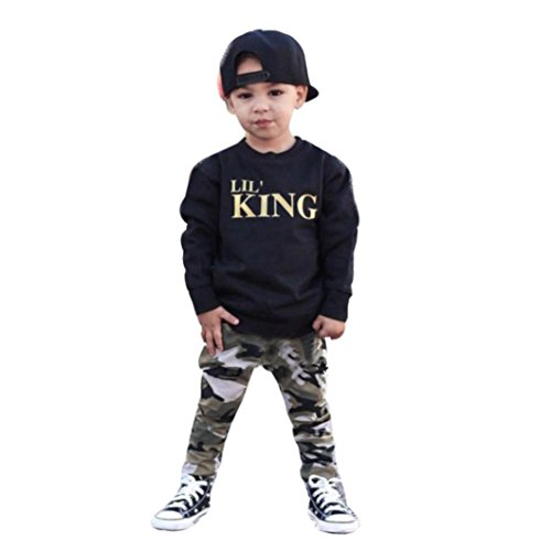 Lanpan Baby Boy Letter T shirt Tops+Camouflage Pants Outfits Clothes Set, Black, (3T)