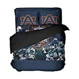 Ebedr 3PCS University Football Bedding Queen Sheet Set Auburn College Bed Sets Players Flat Sheet Dark Blue Duvet Cover Sport Bedspread for Men