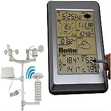 BAYUE Estación Previsión meteorológica Estación meteorológica Solar Profesional con Wireless 433 MHz con Pantalla HD, Detector de Rayos, Lluvia, Viento