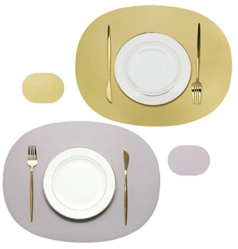 Olrla Manteles Individuales y Posavasos ovalados de Doble Cara, 2 tapetes y 2 Posavasos, Cuero sintético Reciclado, tapetes para Mesa de Comedor (Gris Claro + Dorado)