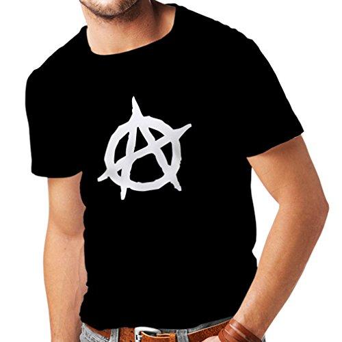 lepni.me Camisetas Hombre Símbolo anarquista, diseño político anarquista, Monograma anarquista (Large Negro Blanco)