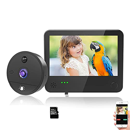 WiFi Video Doorbell Viewer 1080P Peephole Camera Viewer with Motion Detection, Night Vision, 2-Way Audio, Cloud Storage, 4.3 Inch LCD Screen Monitor(16GB TF Card Included)