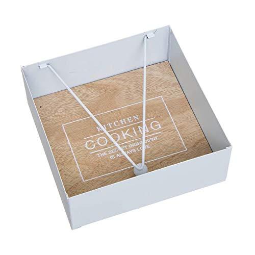 Vidal Regalos Porte-serviettes en bois et métal Blanc 18 cm