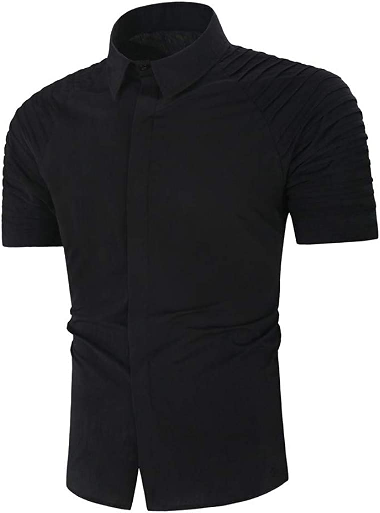 TONSEE Mens Shirt Solid Color Gradient Splicing Casual Stripe Short Sleeve Loose Henley Shirt fpr Man
