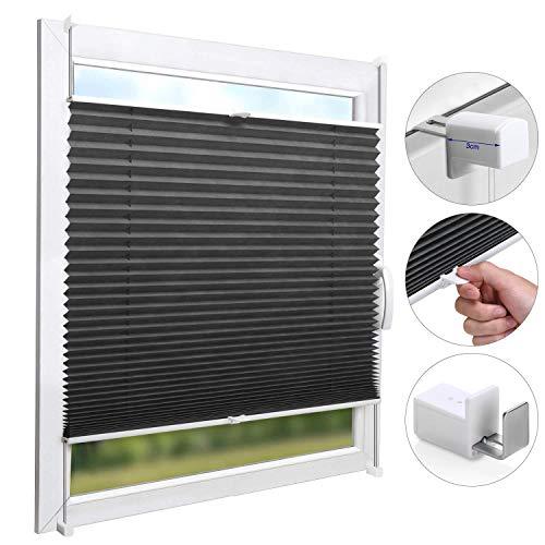 KINLO Plissee Jalousien Rollo Sonnenschutzrollo ohne Bohren für Fenster Tür 60x130cm Vorhänge Seitenzugrollo Klemmfix mit Klemmträger (Dunkelgrau)