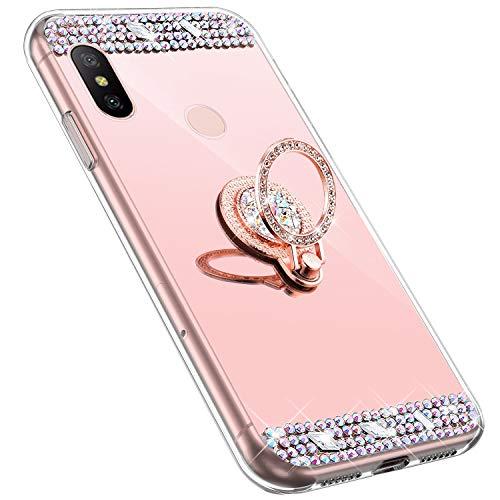 MoreChioce kompatibel mit Redmi Note 6 Pro Hülle,Redmi Note 6 Pro Glitzer Hülle mit Ring,Bling Glitzer Rosa Gold Spiegel Silikon Diamant Schutzhülle Strass Crystal Defender Bumper mit Ständer