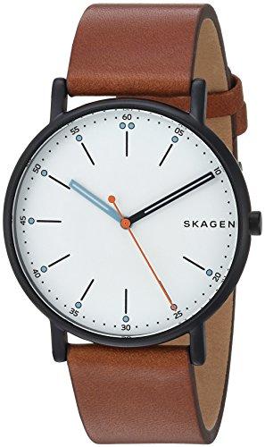 Skagen Men's Signatur Stainless Steel Quartz Watch with Leather Calfskin Strap, Brown, 20 (Model: SKW6374)