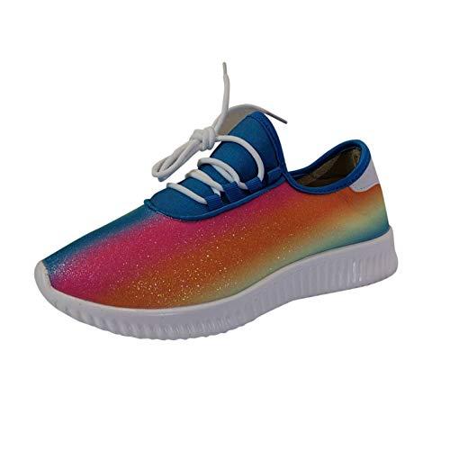 Damen Schnürhalbschuhe Schnürung Schuhe Regenbogenfarben Schnürschuhe Sneaker Frauen sportlicher Schnürer Freizeitschuh(2-Blau/Blue,39) 1454