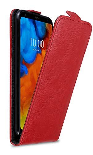 Cadorabo Hülle für LG Q Stylus in Apfel ROT - Handyhülle im Flip Design mit unsichtbarem Magnetverschluss - Hülle Cover Schutzhülle Etui Tasche Book Klapp Style