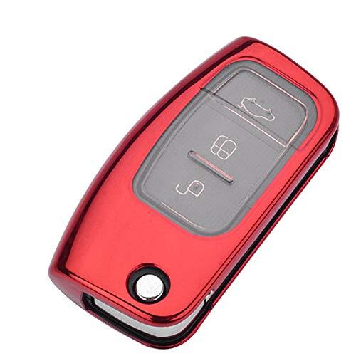 HJPOQZ Funda para Llave Remota Plegable con Tapa para Coche, para Ford Focus Mk3 Fiesta Focus 3 Ecosport Kuga Escort Escape