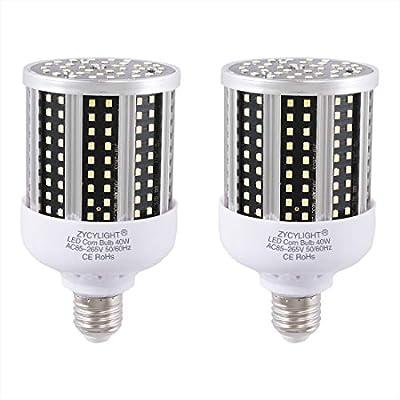 LED Corn Light Bulb 40W (300W Equivalent 6500K) Cool Daylight White Led Garage Bulb for Indoor Warehouse Backyard E26/E27 Medium Base 85V-265V (2Pack)…