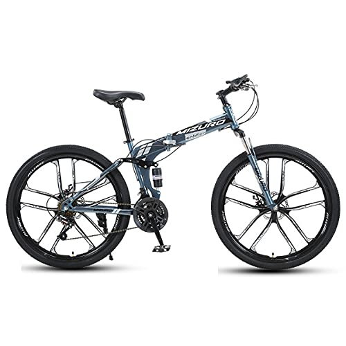 21/24/27 Speed Mountain Bike 24/26' Adult Double Disc Brake Full Suspension Outdoor Sports Cross Country Bike High Carbon Steel Frame