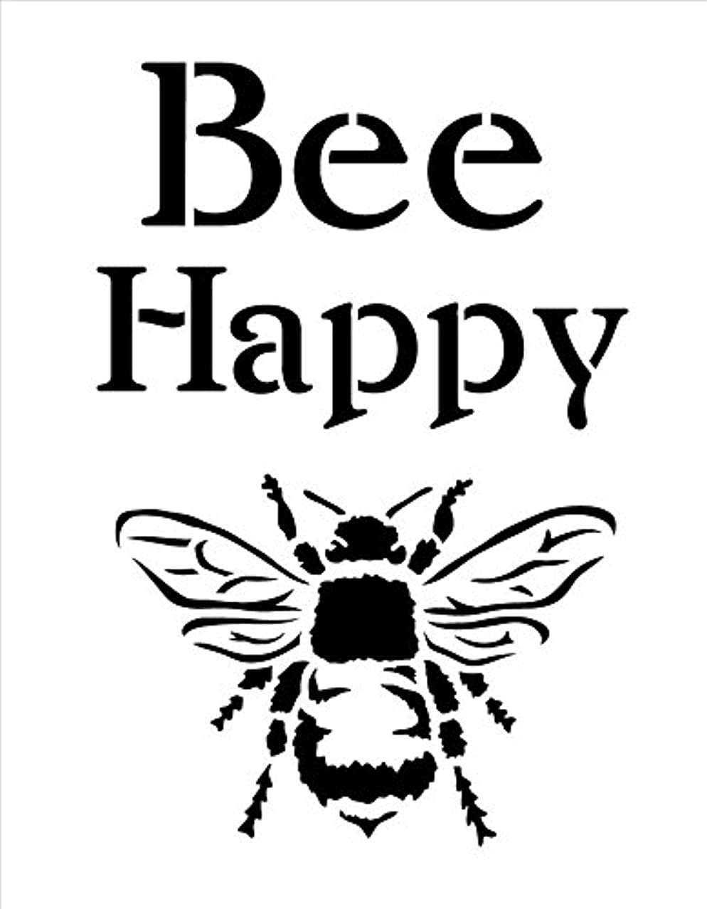 Bee Happy Stencil by StudioR12 | Fun Spring Garden Word Art - Reusable Mylar Template | Painting, Chalk, Mixed Media | Use for Crafting, DIY Home Decor - STCL1171_1 …SELECT SIZE (9