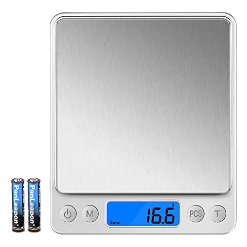 Wodgreat Báscula de Cocina, Balanza Cocina Digital de Alta Precisión 0.1g/3 kg, Bascula Cocina Precision con función PSC/Tara, Peso de Cocina con Pantalla LCD (Bandeja y Baterías Incluidas)