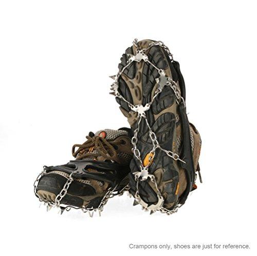 TOMSHOO Schuhspikes mit 19 Zähnen, Grödel, Spikes, Schneekette draußen EIS Schnee Ski Wandern Klettern