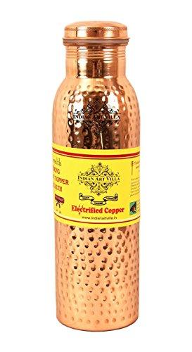 Indian Art Villa Copper Hammered Water Bottle|Leak Proof Joint Free|Storage...