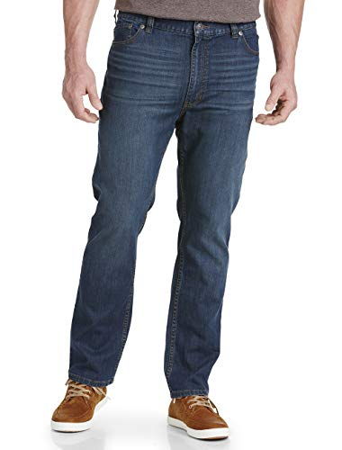 True Nation by DXL Big and Tall Athletic-Fit Washed Blue Jeans