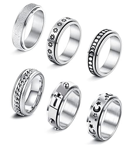 ORAZIO 6Pcs Stainless Steel Spinner Ring for Women Men Moon Star Flower Celtic Stress Relieving Wedding Promise Band Rings Set Cool Statement Fidget Rings