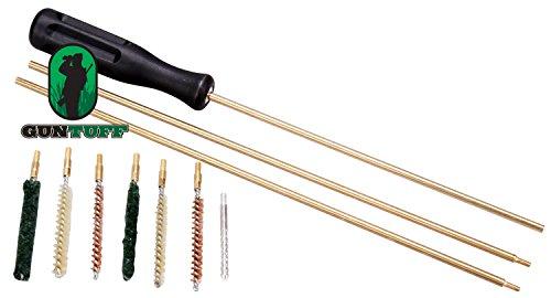 GunTuff Air Rifle Pistol 10 Piece .177 / .22 Cleaning Kit With Plastic Case Air Rifle Pistol Gun Airgun Rimfire 177 22 Brushes & Rods
