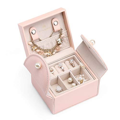 LMG Joyas Caja Caja portátil de joyería, Caja Viajes Pendientes Anillo de Almacenamiento de Pulsera (Rosa) Regalo de niña (Color : Pink)