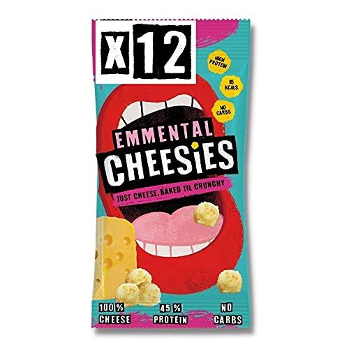 CHEESIES Snack al Formaggio - Croccanti Bocconcini di Formaggio EMMENTAL. Senza Carboidrati, ad Alto Contenuto di Proteine, Senza Glutine, Vegetariano, Keto. 12 sacchetti da 20g