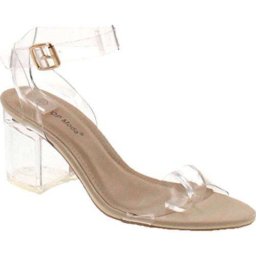 TOP Moda Womens Lucite Clear Strappy Block Chunky High Heel Open Peep Toe Sandal,Beige,9