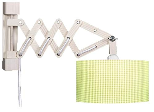 Waldi wandlamp Schaar Vichy met schakelaar 1-lamp, lichtgroen