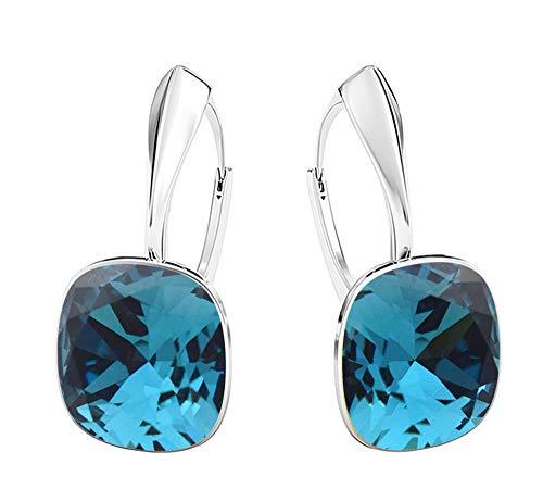 Crystals&Stones - Meravigliosi orecchini quadrati, grandi, diversi colori disponibili, in argento 925, con cristalli Swarovski Elements, da donna e Argento, colore: Indygo, cod. 7