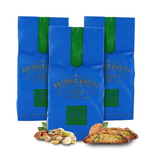 Cantucci con Pistacchi e Mandorle, Biscotti con Frutta Secca, Sacchetto 125g (Confezione da 3 Pezzi)