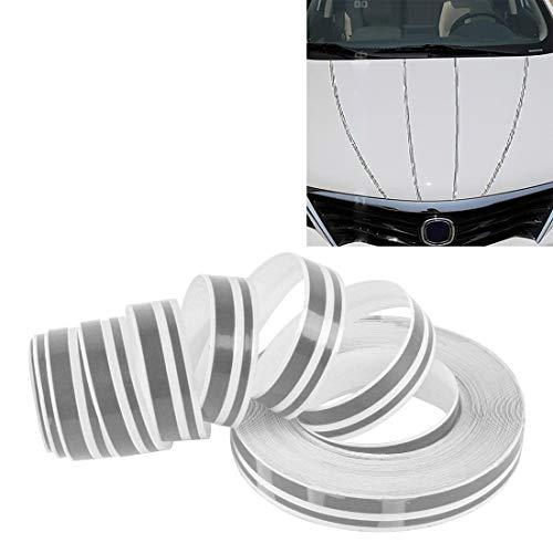 Pegados a los coches 12 mm × 9,8 m de coches auto adhesivo decorativo de la raya de la cinta Línea (Negro) WH (Color : Grey)
