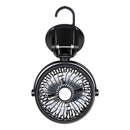 Mieuxbuck Clip on Fan, Portable Fan with Hanging Hook, 360° Rotation Rechargeable Battery Operated, Camping Fan for Tent RV Stroller Outdoor Activities