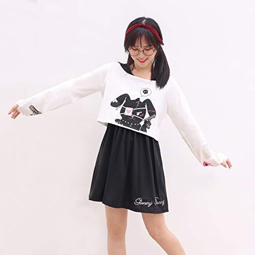 Kawaii Conejo Vestido Estampado 2 Piezas para niñas 2018 nuevos Vestidos (L)